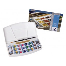 WATER COLOUR PLASTIC SET 18X1/2 PANS AND 2X 10ML TUBES