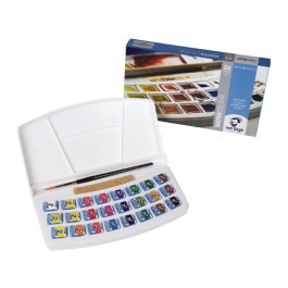 WATER COLOUR PLASTIC SET PANS 24X 1/2 PANS
