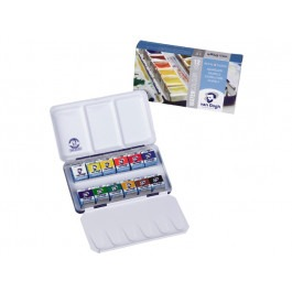 WATER COLOUR METAL BASIC SET 12X 1/2 PANS