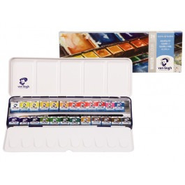 WATER COLOUR DE LUXE METAL SET 24 X1/2 PANS