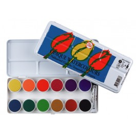 KIDS OPAQUE WATERCOLOUR SET OF 12 PANS